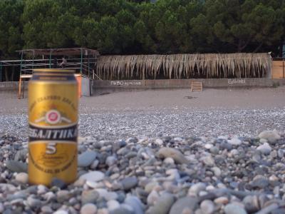 Baltika 5, biere russe et sur le mur au fond est ecrit: Bieres, Blinis